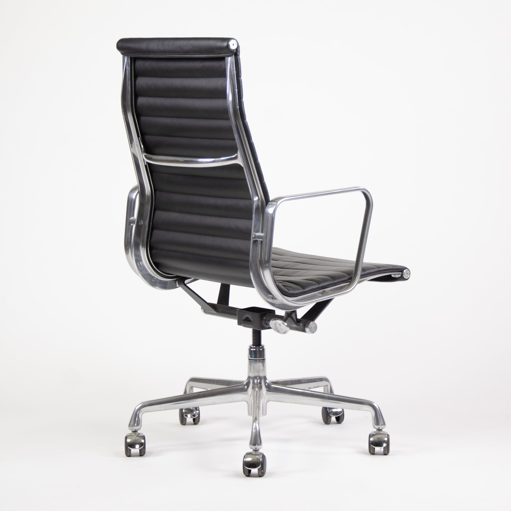 SOLD Herman Miller Eames Leather High Back Executive Aluminum Group Desk Chairs 2 Available