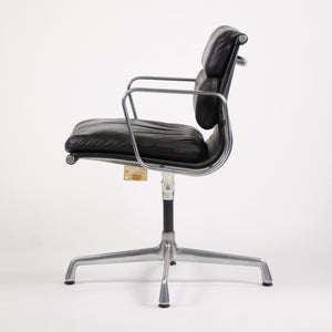 SOLD Pair Eames Herman Miller Soft Pad Aluminum Chairs Black Leather with Girard Fabric