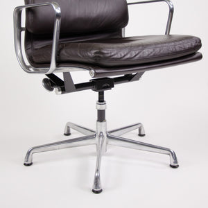 SOLD Herman Miller Eames Soft Pad Aluminum Group Chair Brown Leather 2000's