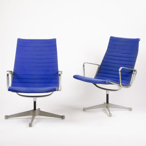 SOLD Blue Eames Herman Miller Aluminum Group Fabric Lounge Chairs Rare