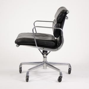 SOLD Herman Miller Eames Vintage Soft Pad Aluminum Group Chair Black Leather