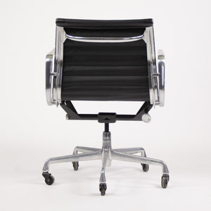 SOLD Herman Miller Eames Low Aluminum Group Executive Desk Chairs Black Leather 2006