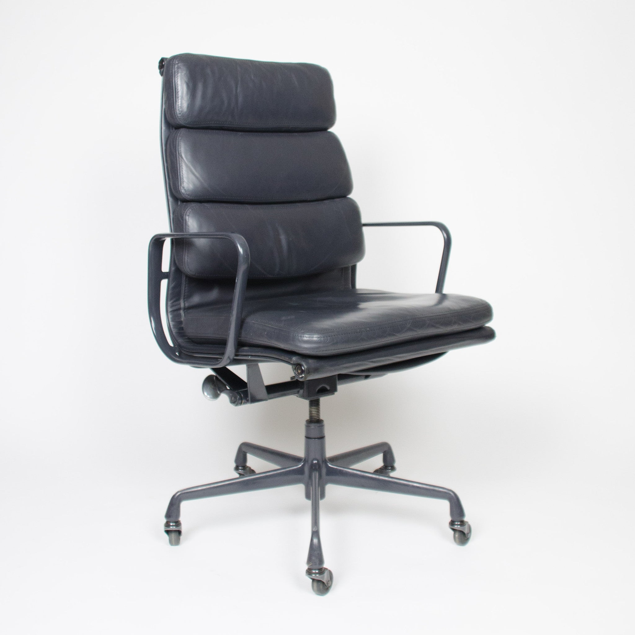 SOLD Dark Gray Eames Herman Miller Soft Pad High Back Aluminum Group Chair