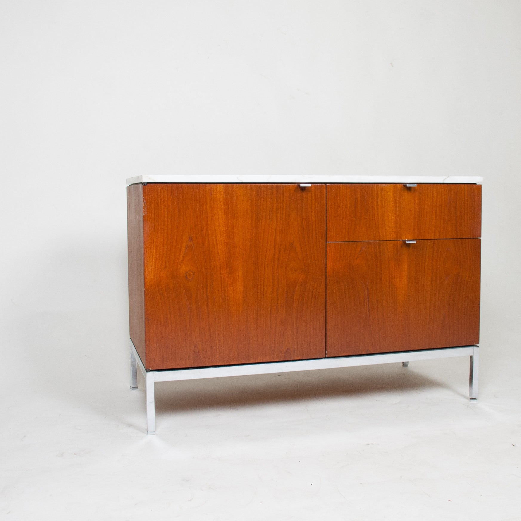 SOLD Florence Knoll Vintage Wood and Marble Credenza Cabinet Sideboard