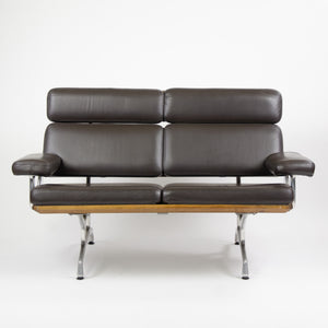 SOLD 2007 Eames Herman Miller Two Seater Sofa Walnut and Brown Leather
