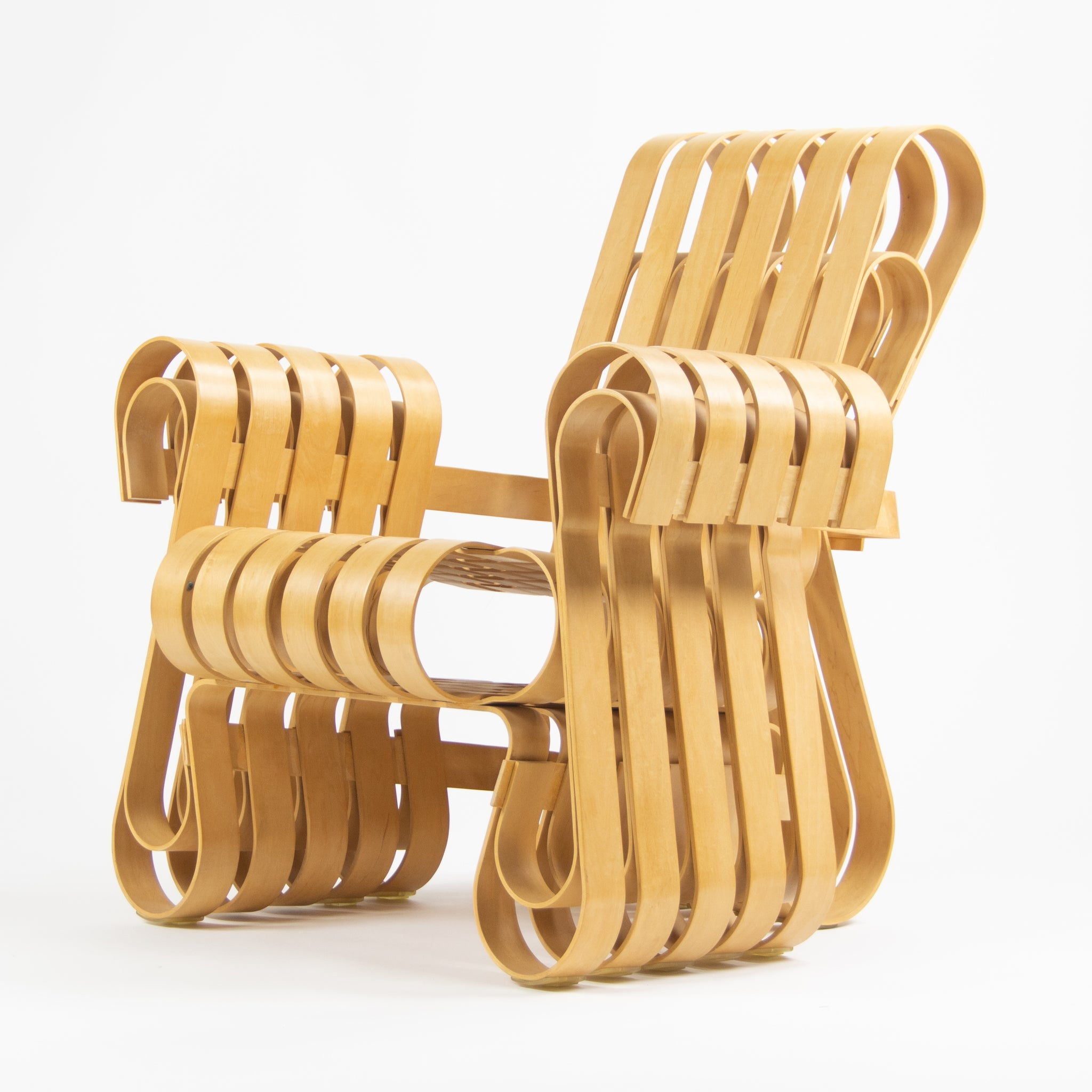 SOLD Frank Gehry for Knoll Power Play Lounge Chair and Ottoman Maple 1993