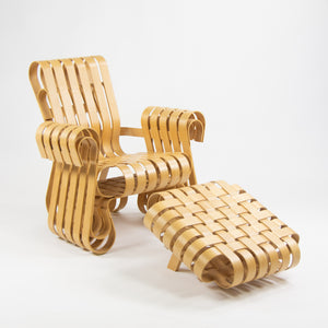 Frank Gehry for Knoll Power Play Lounge Chair and Ottoman Maple 1993