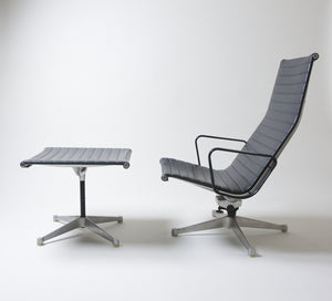 SOLD Patent Pending Eames Aluminum Group Lounge with Ottoman