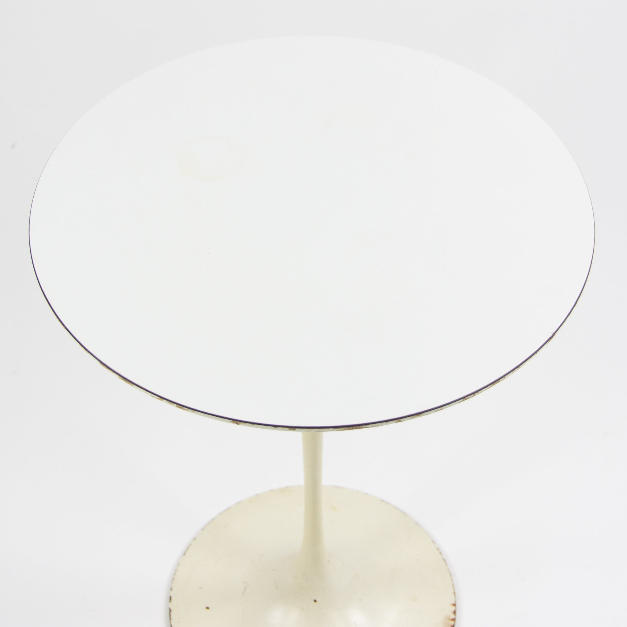 1960's Vintage Eero Saarinen For Knoll 16 Inch Tulip Side Table White Laminate