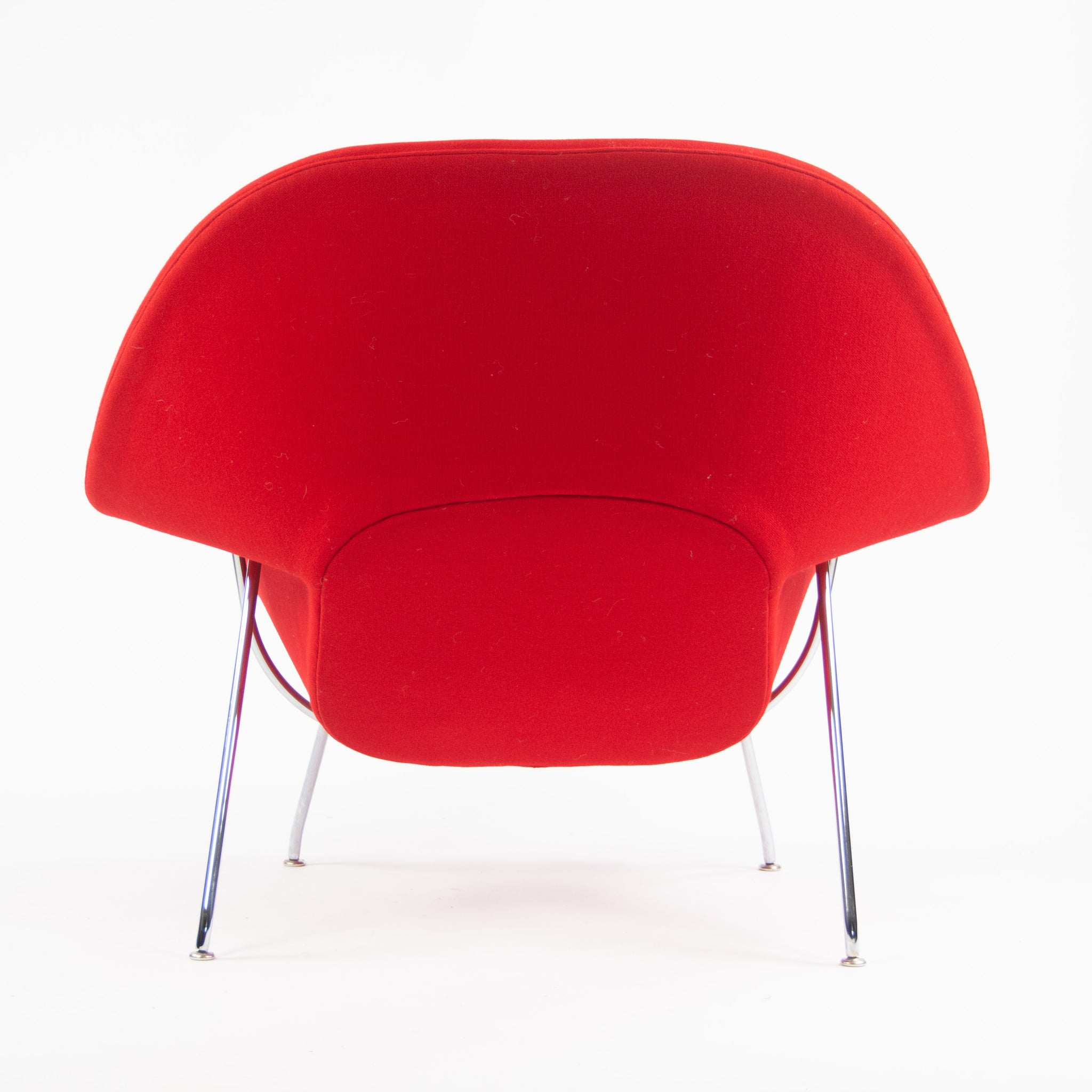 SOLD 2000's Eero Saarinen Womb Chair and Ottoman Knoll Studio Full-Size Red Hopsack