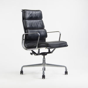 1970's Herman Miller Eames Vintage Black High Back Soft Pad Aluminum Group Chair