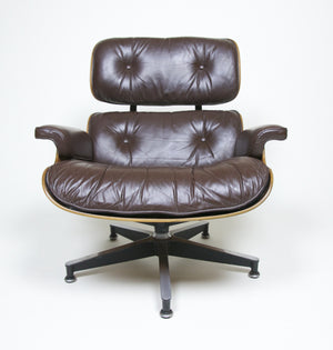 SOLD Brown Eames Lounge Chair With Ottoman with Brazilian Rosewood