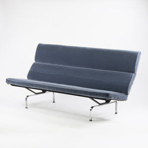 1950's Original Eames Herman Miller Sofa Compact with Blue Mohair Upholstery