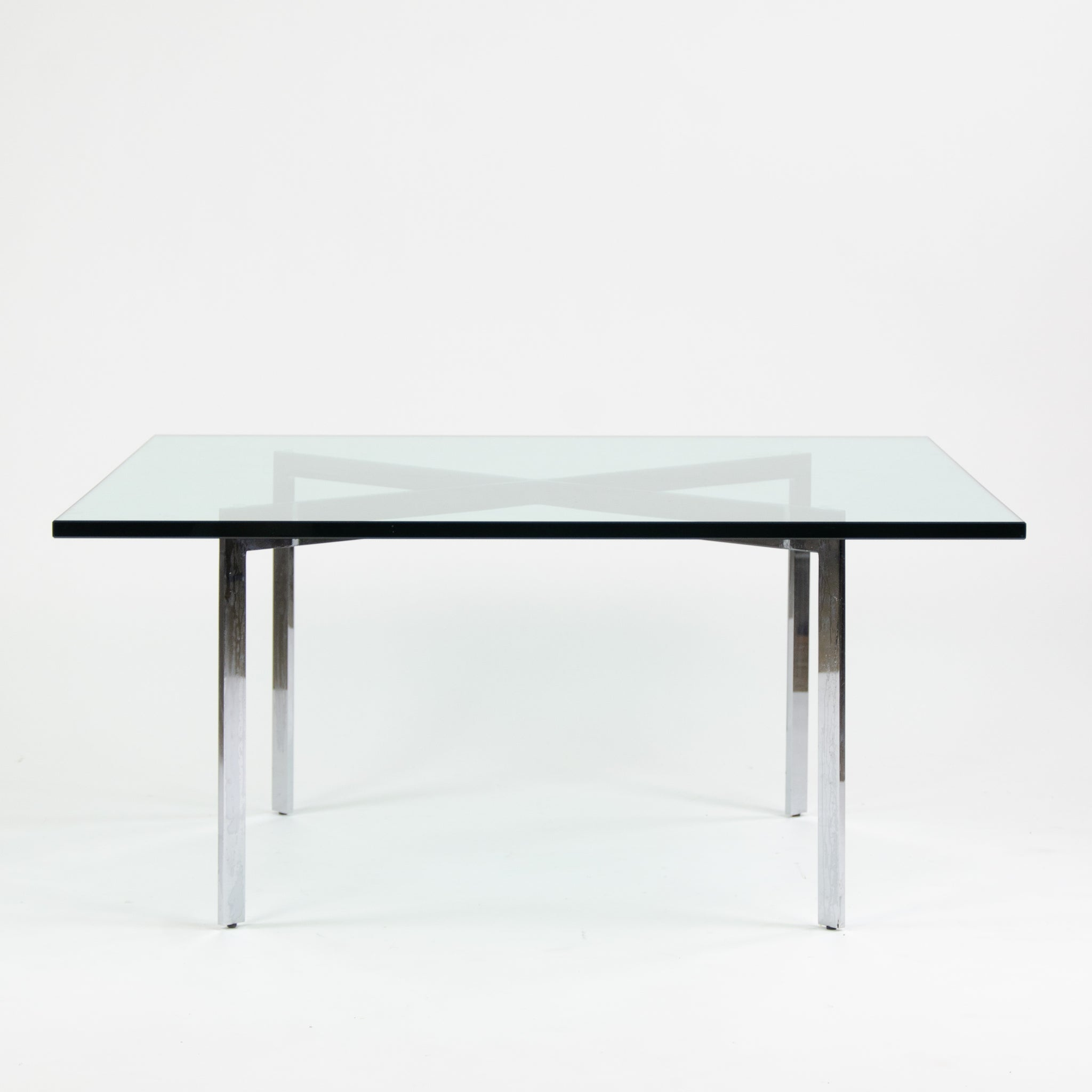 Gentil Knoll Mies Van Der Rohe Barcelona Coffee Table 40 Inch Glass Steel