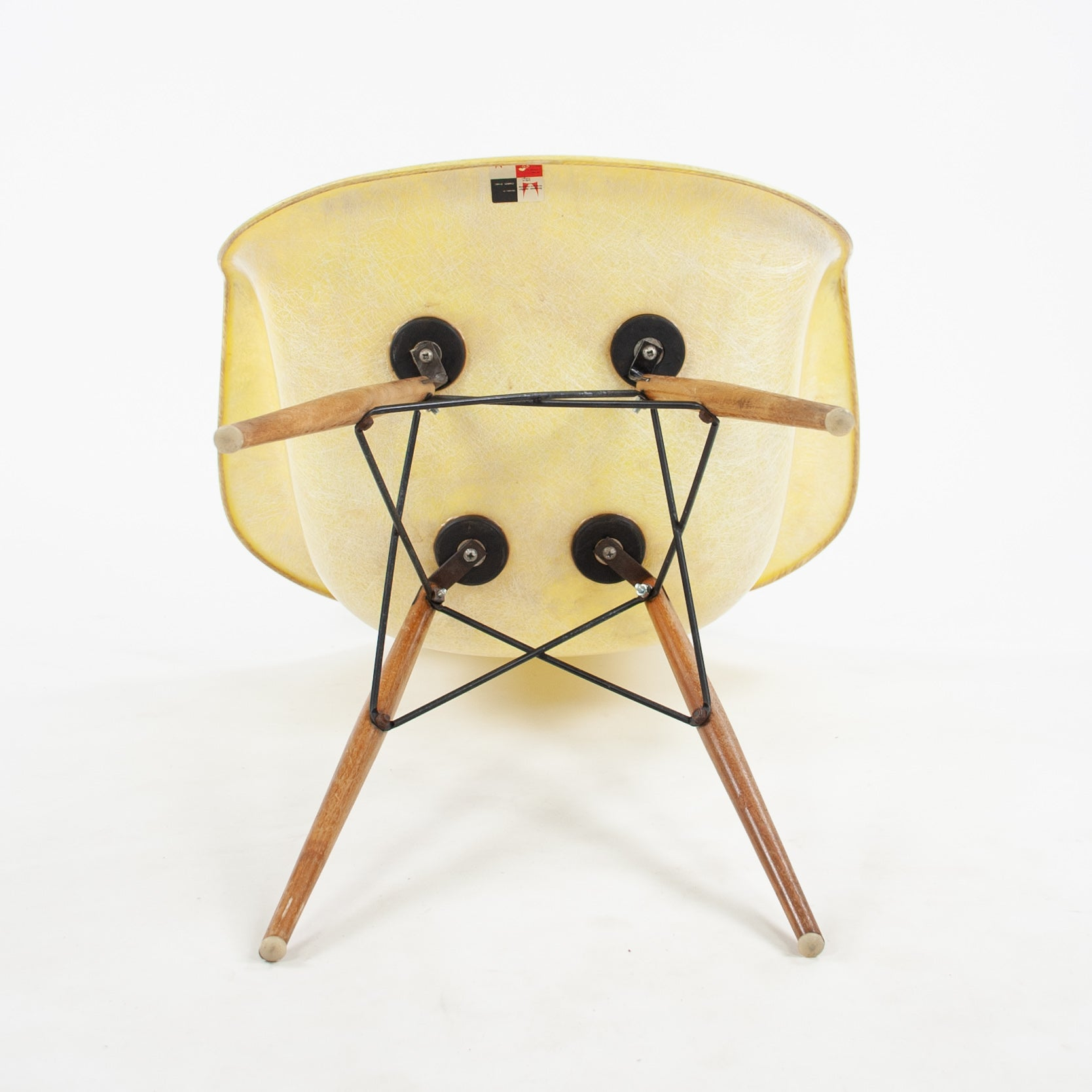 SOLD 1951 Eames Herman Miller DAW Armshell Fiberglass Chair Rope Edge Zenith Yellow