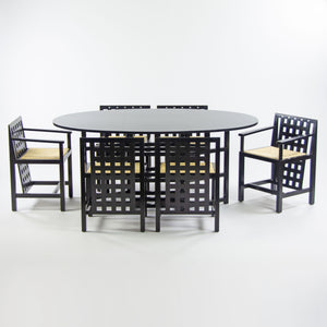 Charles Rennie Mackintosh Set of Six 324 DS3 Chairs + Dining Table Set Cassina