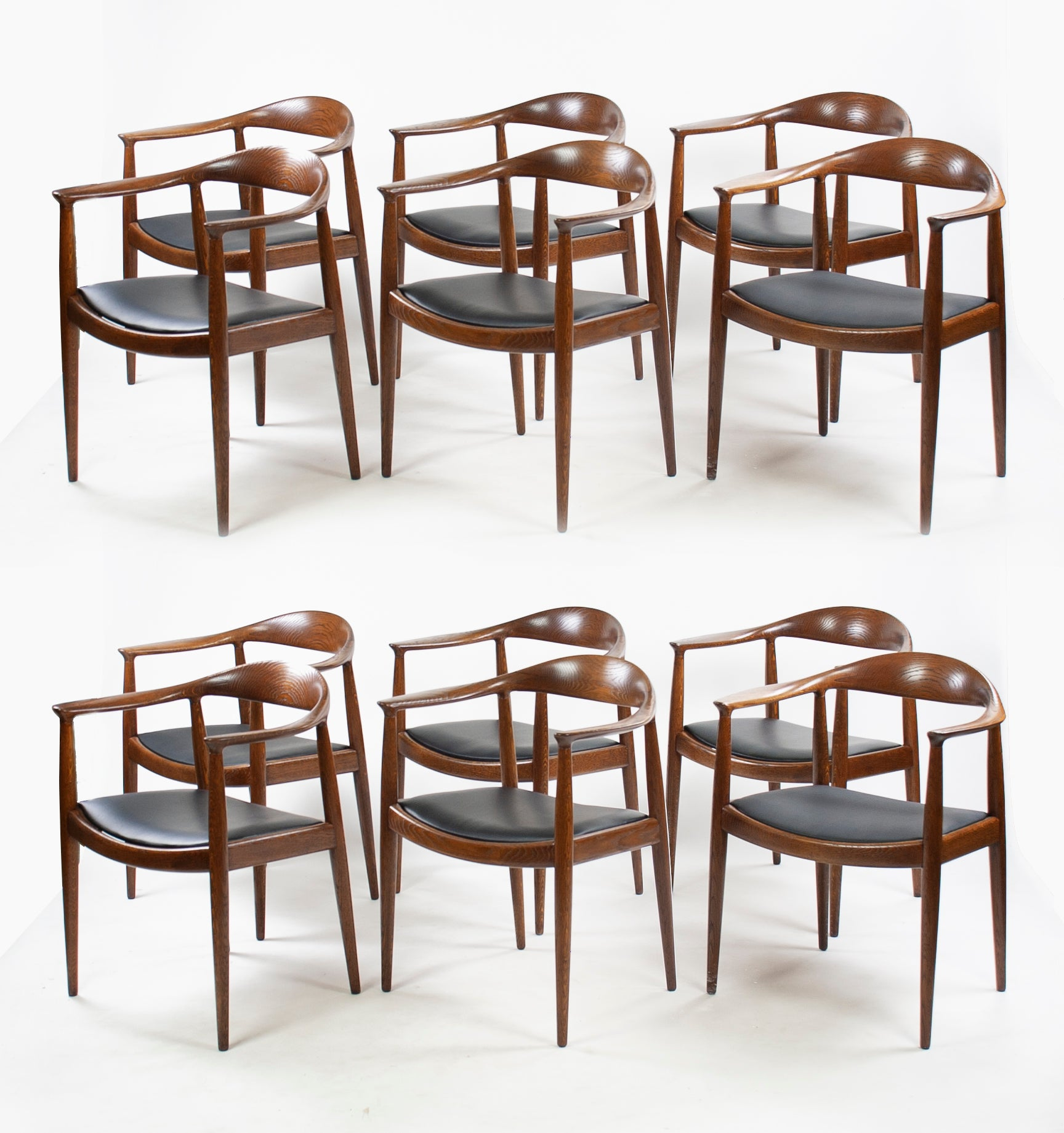 12x Hans Wegner Round The Chair Johannes Hansen Denmark For Knoll Oak Armchairs