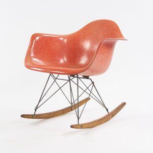 SOLD 1950's Eames Herman Miller RAR Armshell Fiberglass Red Orange Rocking Chair