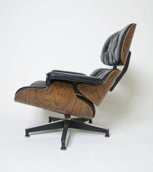 SOLD 1956 Herman Miller Eames Lounge Chair & Ottoman Rosewood with Boot Glides 670 671