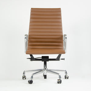 SOLD Herman Miller Eames 2015 Leather High Executive Aluminum Group Desk Chair Brown