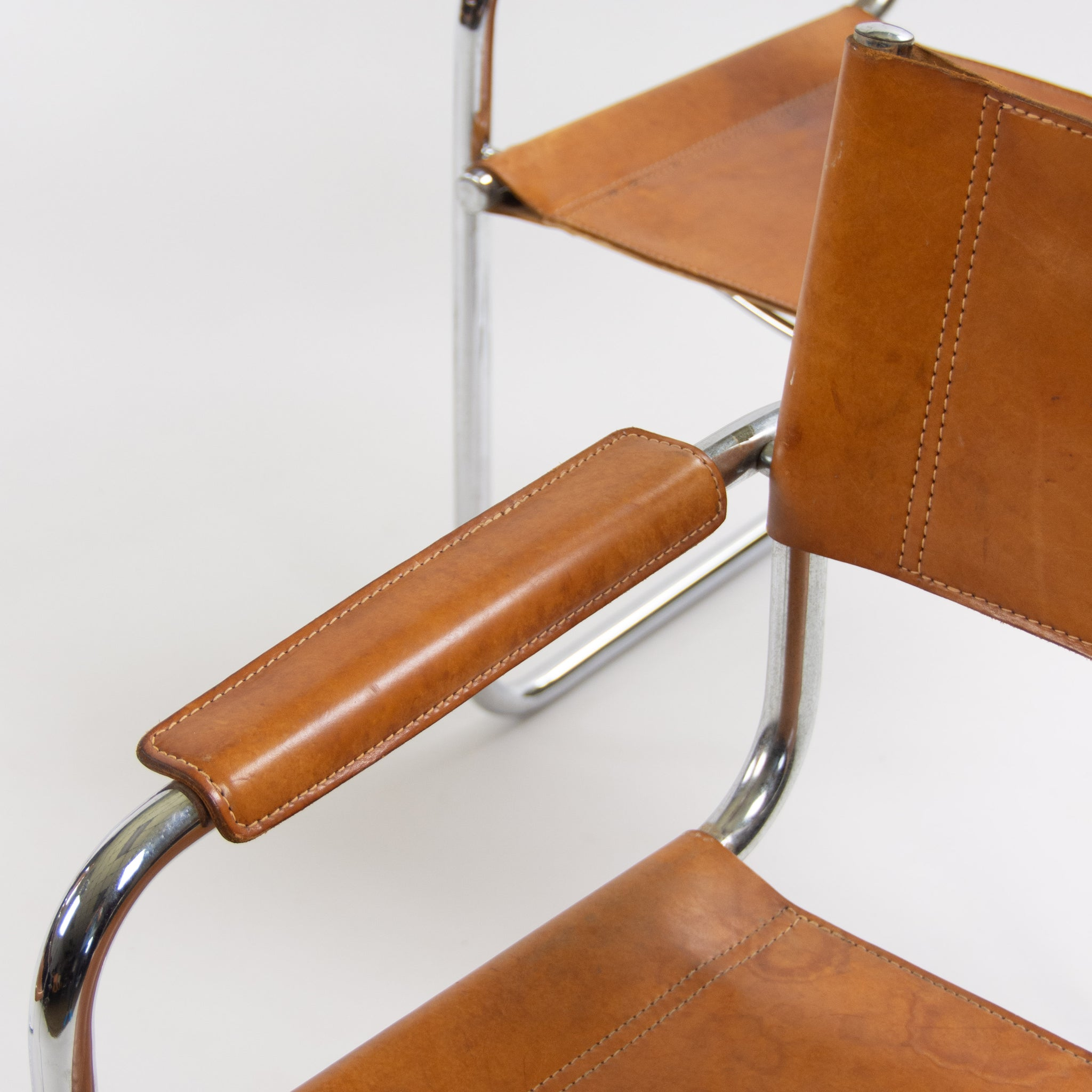 SOLD Mart Stam Vintage S34 for Fasem Cognac Leather Cantilever Lounge Chairs 4x