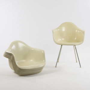 1950's Set of Eight Eames Herman Miller Armshell Fiberglass Upper Stack, Ivory