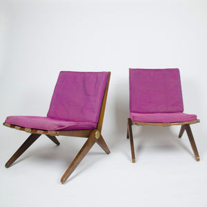 SOLD All Original Vintage Knoll Pierre Jeanneret No. 92 Scissor Lounge Chairs