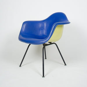 SOLD Eames Yellow & Blue Herman Miller Upholstered Fiberglass Shell Chair DAX-1