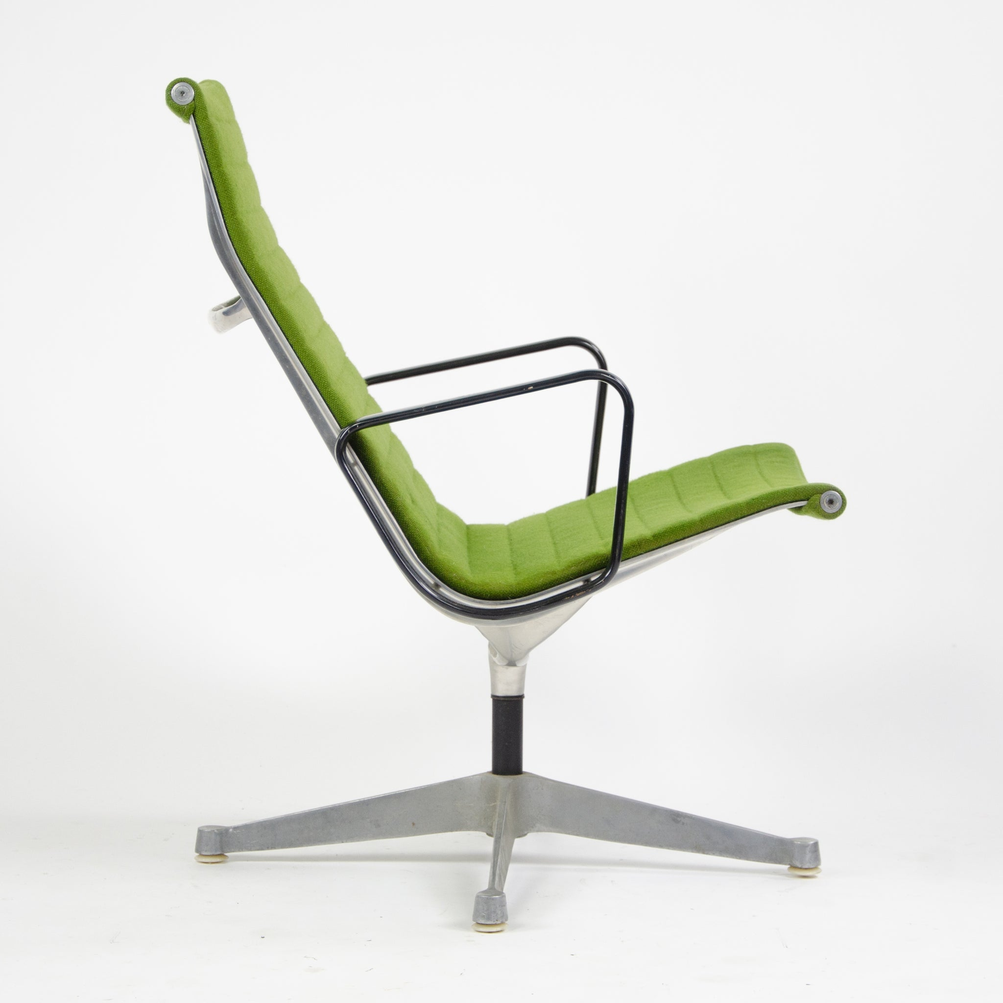 SOLD 1960's Green Eames Herman Miller Aluminum Group Lounge Chair, Fabric Upholstery