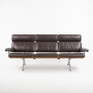 1980's Vintage Eames Herman Miller Three Seater Sofa Walnut and Brown Leather #1