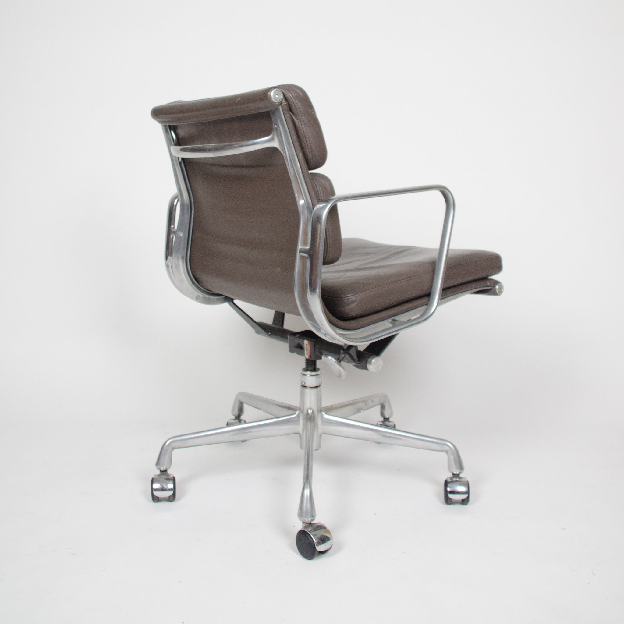 SOLD Eames Herman Miller Soft Pad Aluminum Group Chair Brown Leather Mint 3x