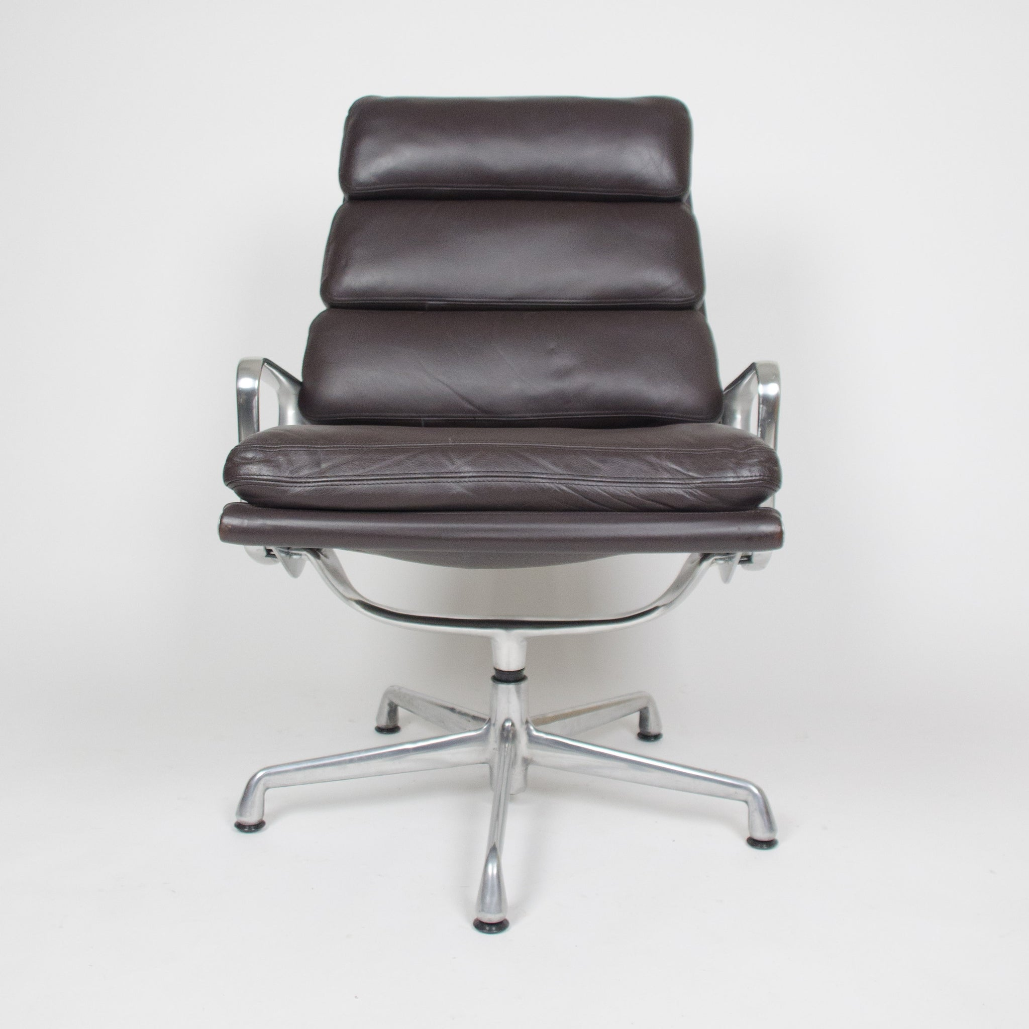 SOLD Eames Herman Miller Soft Pad Aluminum Group Lounge Chair Brown Leather