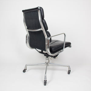 Black Leather Vintage Eames Herman Miller High Back Soft Pad Aluminum Group Chair 1970's
