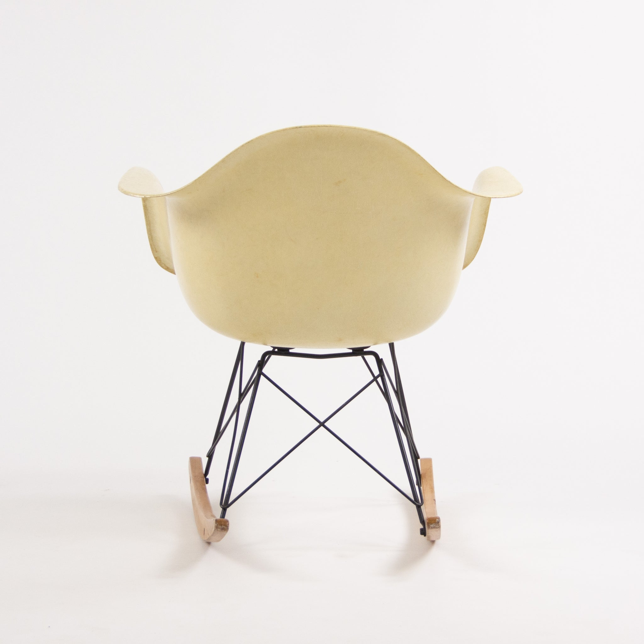 SOLD 1950's Eames Herman Miller RAR Armshell Fiberglass Parchment Rocking Chair