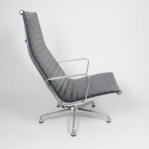 SOLD Eames Herman Miller High Back Aluminum Lounge Chair with Ottoman Black Leather