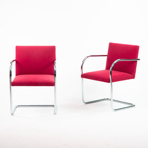 Knoll Mies Van Der Rohe Brno Chairs Red Fabric Sets Avail 2000s