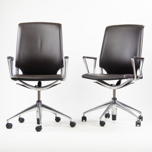 SOLD Set of Six Meda by Vitra Alberto Meda Desk Chair Brown Full Leather
