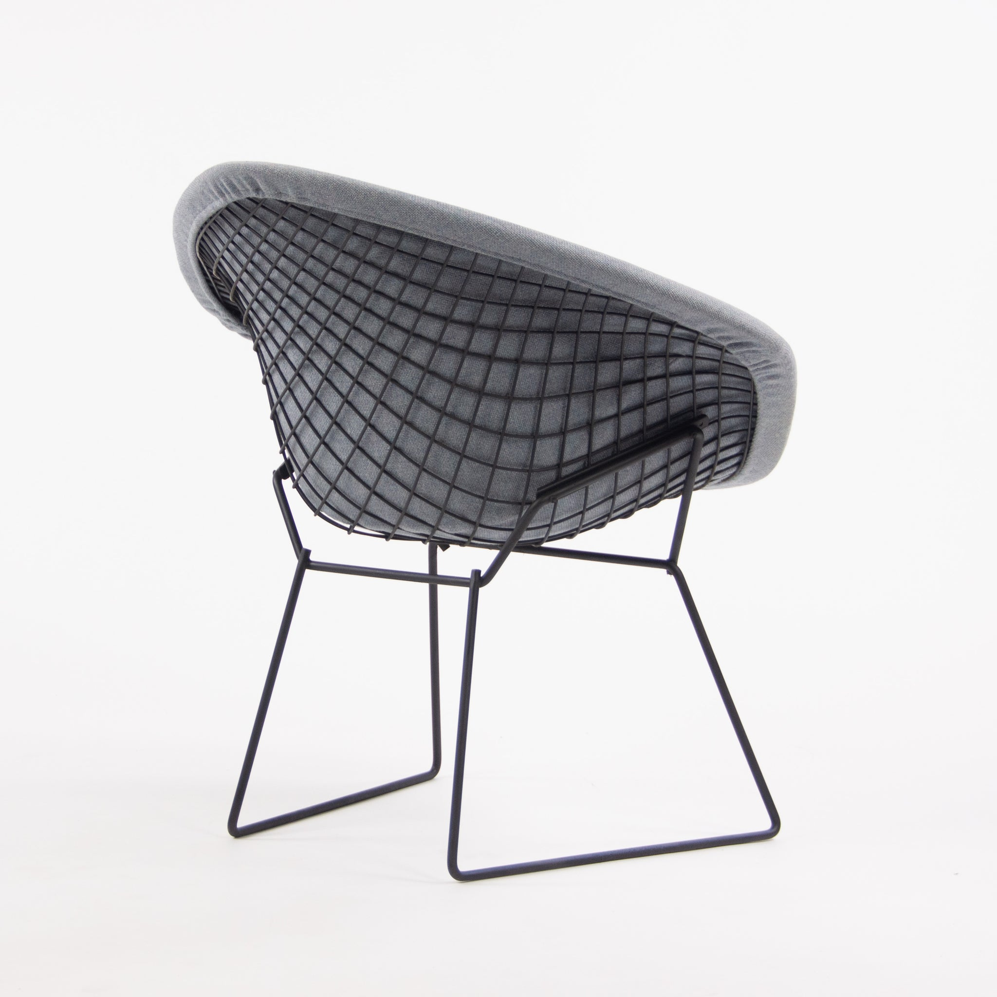 Knoll International Vintage Harry Bertoia Wire Diamond Chair Blue Frame Full Pad