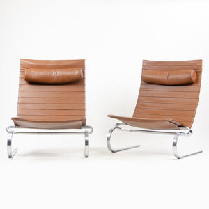 Fritz Hansen Poul Kjaerholm PK20 Leather Lounge Chairs