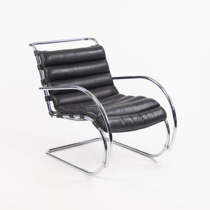 Mies Van Der Rohe Vintage MR Lounge Chair with Arms Black Leather Chrome Knoll