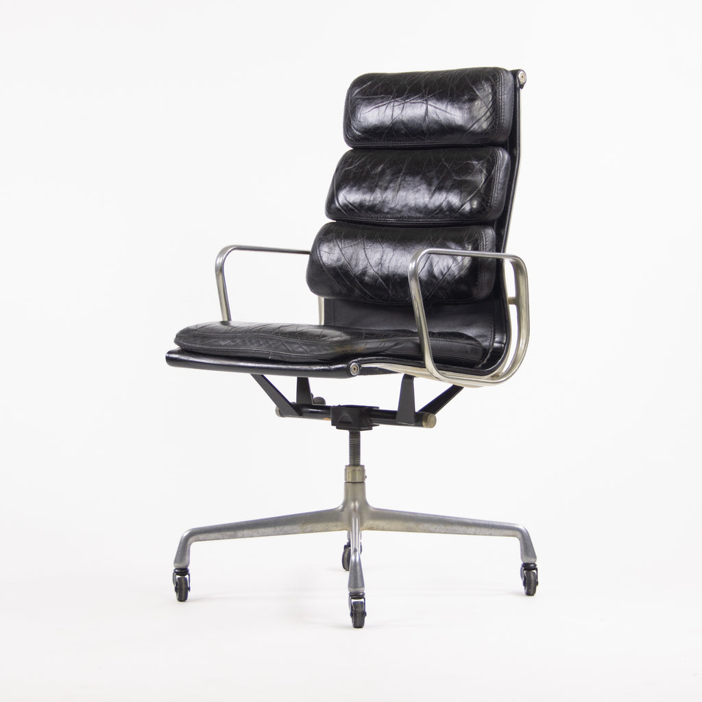 1976 Vintage Black Eames Herman Miller High Back Soft Pad Aluminum Group Chair