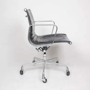 SOLD Eames Herman Miller Leather Low Executive Aluminum Group Desk Chairs