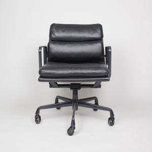 SOLD Eames Herman Miller Soft Pad Aluminum Group Chair Black Leather 4x