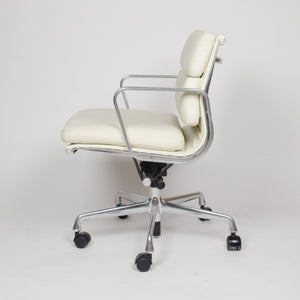 SOLD Eames Herman Miller Soft Pad Aluminum Group Chairs White Leather Mint (2x)