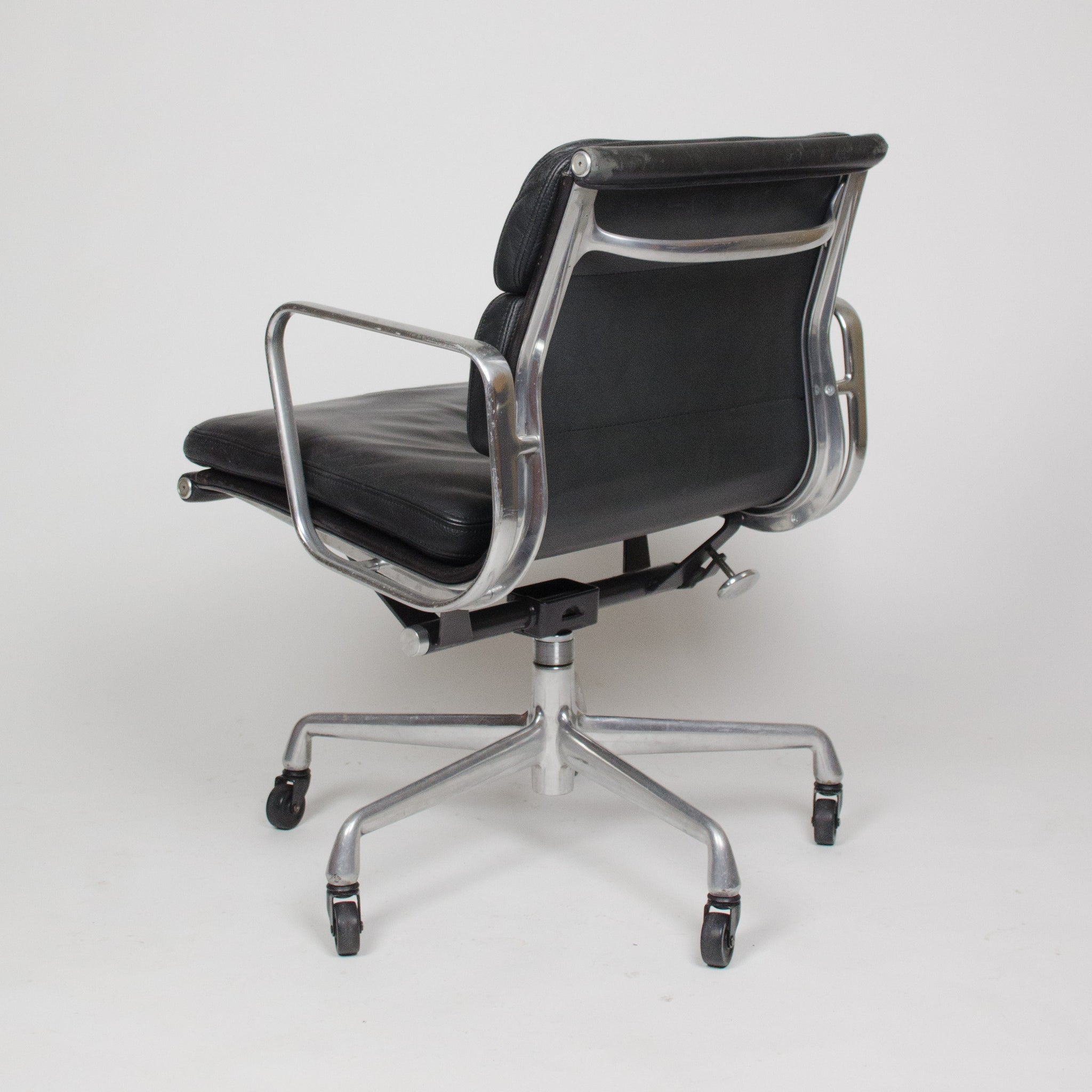SOLD Eames Herman Miller Vintage Leather Low Soft Pad Aluminum Desk Chairs
