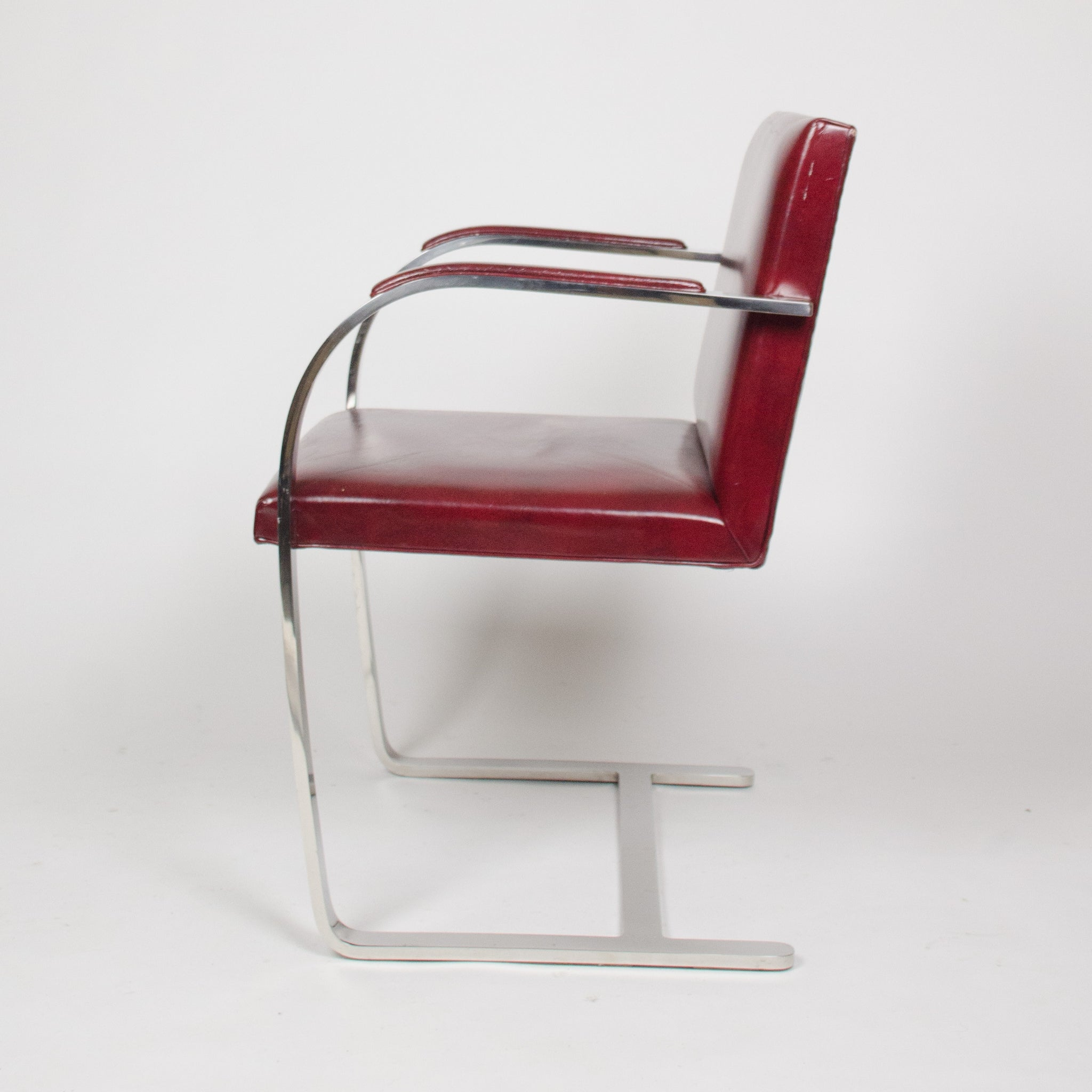 SOLD Knoll International Stainless Mies Van Der Rohe Brno Flat Bar Armchairs