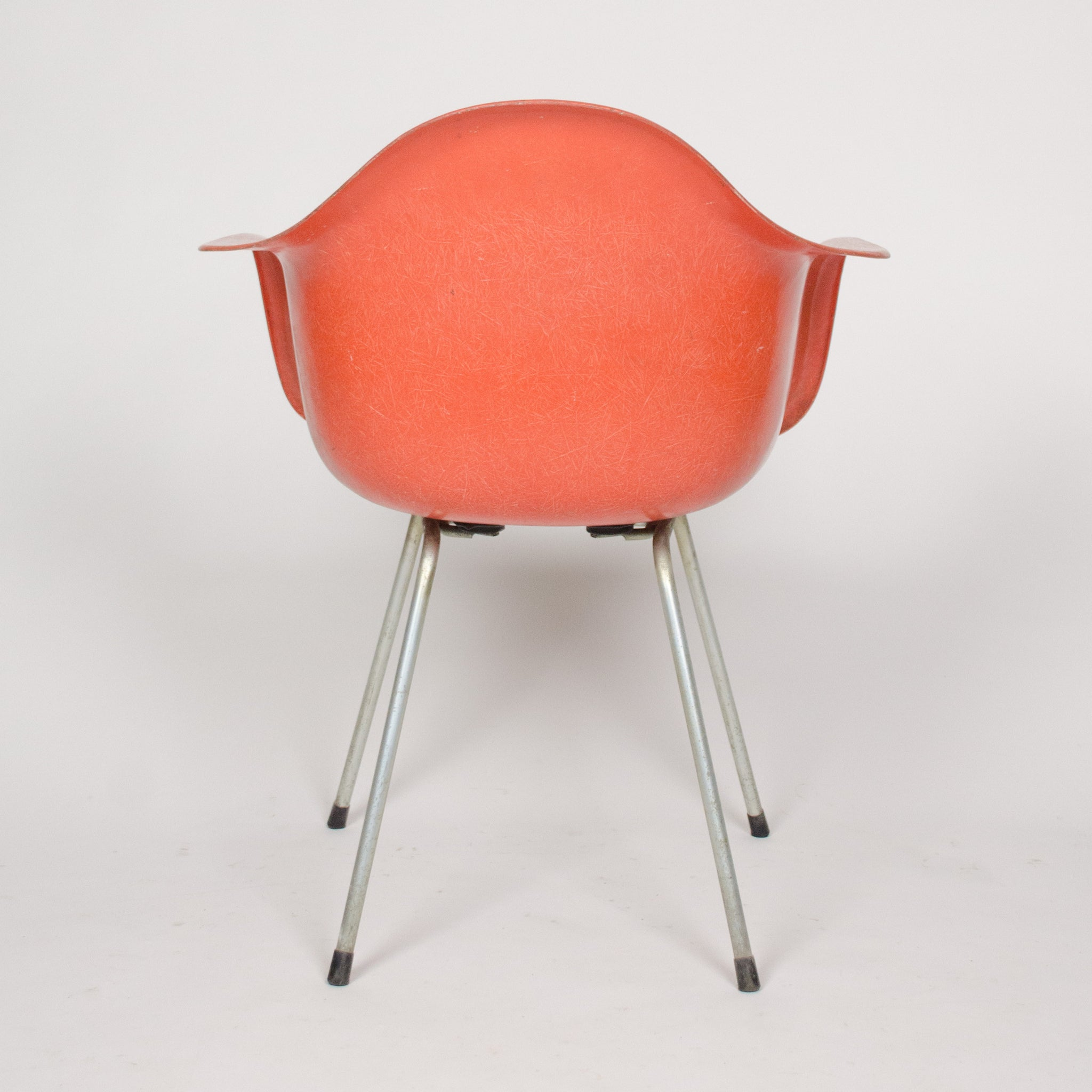 SOLD 1960's Eames Herman Miller Red / Orange Fiberglass Shell Chairs Arm Shells (3x)