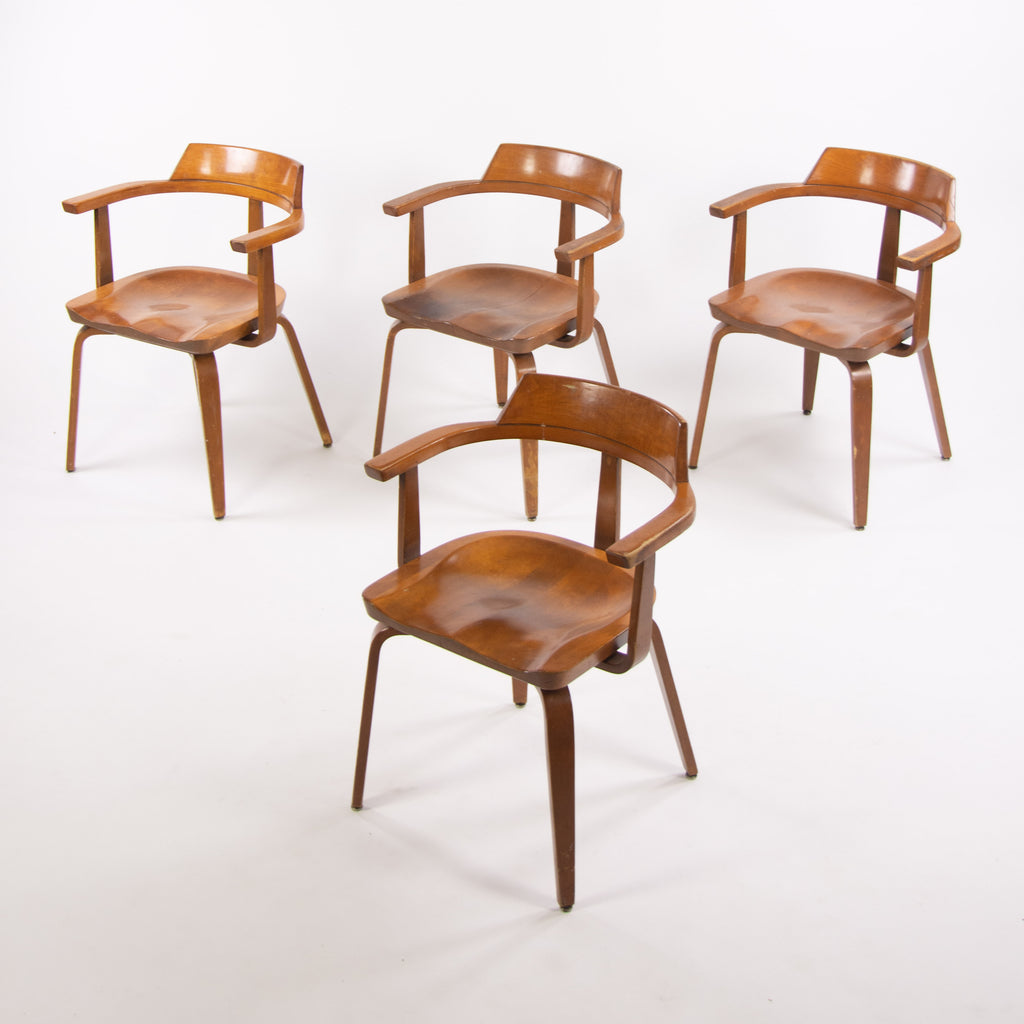 1951 Walter Gropius for Thonet W199 Dining Armchairs Bauhaus Set of Four