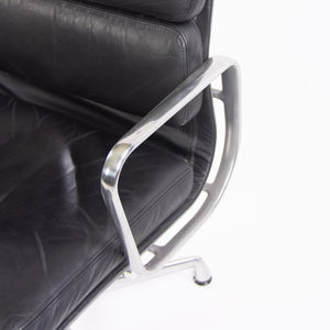 SOLD Herman Miller Eames Soft Pad Aluminum Group Chair Black Leather 2000s 4x Available