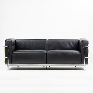 SOLD 2000's Cassina Italy Le Corbusier LC3 Grand Modele 2-Seat Sofa Black Leather